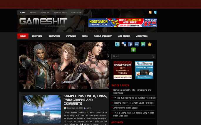 GamesHit wordpress theme