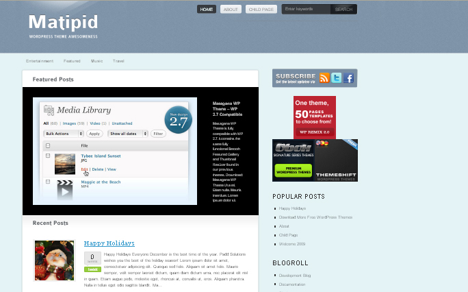 Matipid wordpress theme