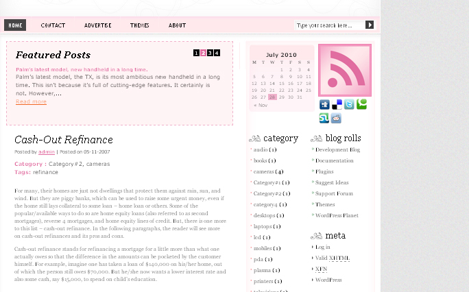 Pink Three wordpress theme