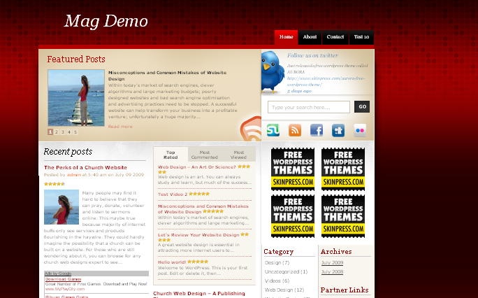 RedTweet wordpress theme