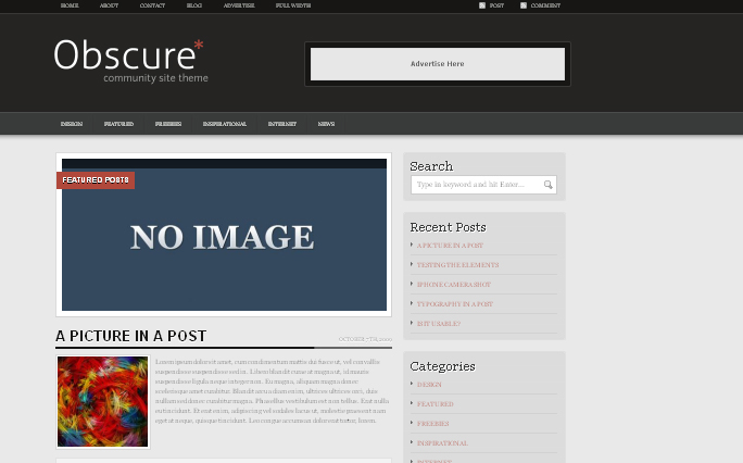 obscure,wordpress themes